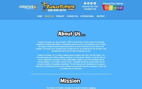 Screenshot of About Page puckerpowder.com - Pucker Powder | About Us - captured Nov. 5, 2018