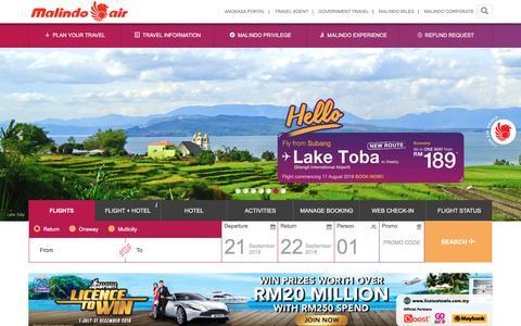 Screenshot of Home Page malindoair.com - Malindo Air - Smarter Way To Travel - captured Sept. 22, 2018