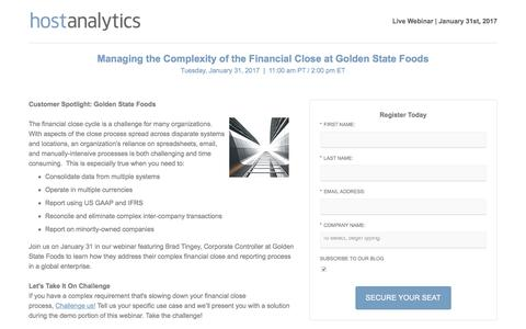 Screenshot of Signup Page hostanalytics.com - Webinar: Managing the Complexity of the Financial Close at Golden State Foods | Host Analytics - captured Jan. 28, 2017