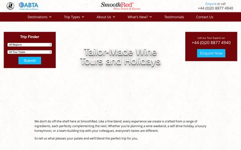 Screenshot of Home Page smoothred.co.uk - SmoothRed - Wine Tasting Holidays, Tours and Weekends - captured Dec. 10, 2016