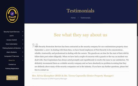 Screenshot of Testimonials Page firstsecurity.ca - Testimonials – First Security Protection Services - captured Oct. 13, 2017