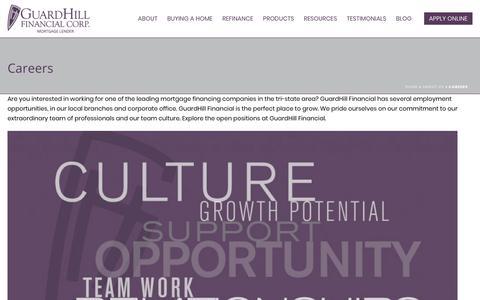 Screenshot of Jobs Page guardhill.com - Careers - Guardhill Financial Corp. - captured Dec. 16, 2018
