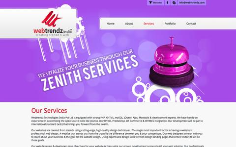Screenshot of Services Page web-trendz.com - Services -  Web Design, Web Development, Content Management System, E-commerce, W3C Standard, Cross browser compatibility, SEO, Joomla, Wordpress - captured Oct. 7, 2014