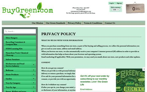 Screenshot of Privacy Page buygreen.com - Privacy Policy   BuyGreen - captured Jan. 27, 2019