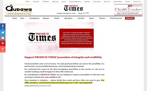 Screenshot of Support Page premiumtimesng.com - Support Premium Times journalism for a better world - Premium Times Nigeria - captured Dec. 11, 2018