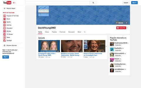 Screenshot of YouTube Page youtube.com - DavidYoungDMD  - YouTube - captured Oct. 23, 2014