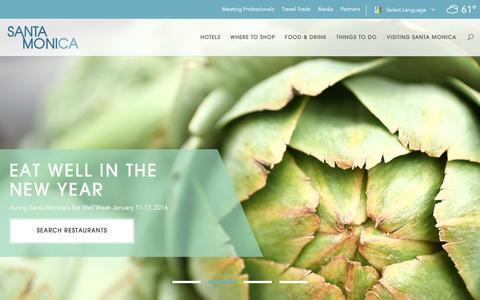 Screenshot of Home Page santamonica.com - Santa Monica CA   Visitor Information, Hotels, Dining - captured Jan. 15, 2016