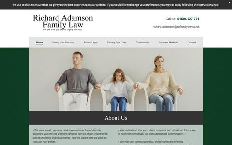 Screenshot of Home Page ra-familylaw.co.uk - Richard Adamson Family Law - Divorce Solicitors, Northampton - captured Oct. 18, 2018
