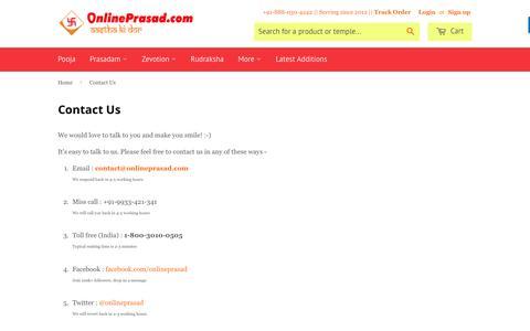 Screenshot of Contact Page onlineprasad.com - Contact Us – OnlinePrasad.com - captured May 9, 2017