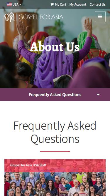 Screenshot of FAQ Page  gfa.org - Frequently Asked Questions - Gospel for Asia