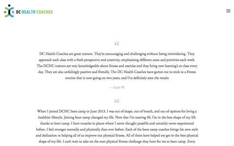 Screenshot of Testimonials Page dchealthcoaches.com - Testimonials — DC Heath Coaches - captured Aug. 5, 2018
