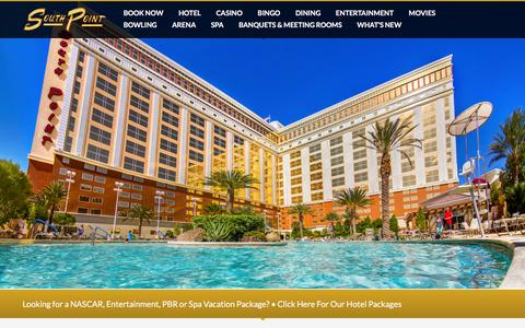 Screenshot of Home Page southpointcasino.com - Las Vegas Hotel - South Point Hotel Casino and Spa - captured Feb. 3, 2016
