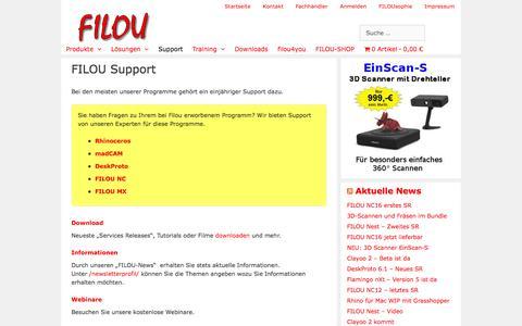 Screenshot of Support Page filou.de - FILOU Support - FILOU - captured June 5, 2016