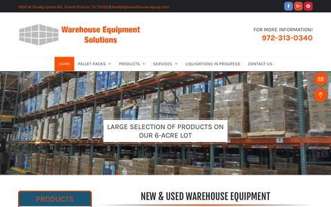 Screenshot of Home Page warehouse-equipment-solutions.com - Warehouse Equipment - Grand Prairie, TX - Warehouse Equipment Solutions - captured Nov. 2, 2018