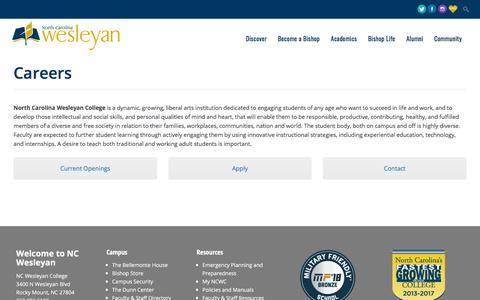 Screenshot of Jobs Page ncwc.edu - Careers - North Carolina Wesleyan College - captured Sept. 22, 2018