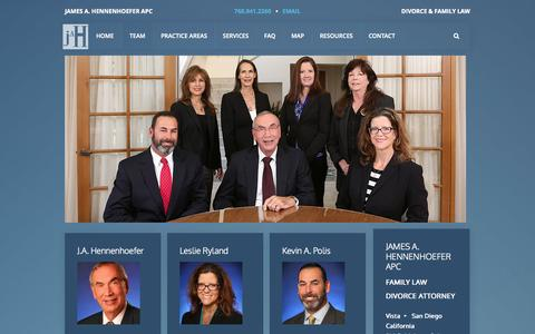 Screenshot of Team Page jahfamilylaw.com - The Team - Hennenhoefer Family Law Divorce Attorneys Mediation Lawyers - captured Nov. 3, 2014