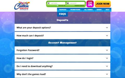 Screenshot of FAQ Page carltonbingo.com - Carlton Bingo - Faqs - captured Nov. 10, 2018