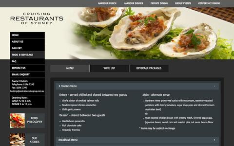 Screenshot of Menu Page cruisingrestaurants.com.au - Food Menu - captured Oct. 5, 2014