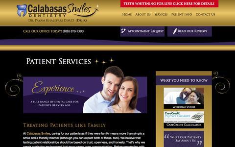 Screenshot of Services Page calabasassmiles.com - Patient Services | Calabasas Smiles | Calabasas, CA - captured Sept. 27, 2014