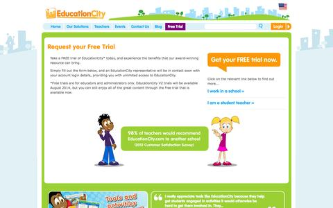 Screenshot of Trial Page educationcity.com - Request your Free Trial | EducationCity US - captured Oct. 2, 2014