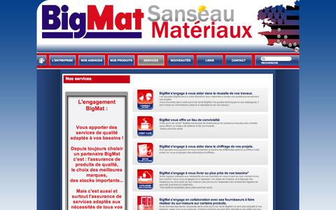Screenshot of Services Page bigmatsanseau.com - BigMat - SANSÉAU - Nos services - captured Sept. 30, 2014