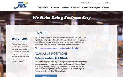 Screenshot of Jobs Page jbc-tech.com - JBC Careers - captured Sept. 30, 2017