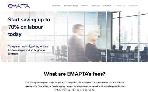Screenshot of Pricing Page emapta.com - Pricing - EMAPTA - captured Sept. 27, 2018