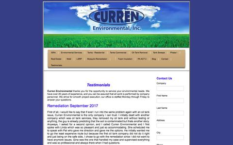 Screenshot of Testimonials Page currenenvironmental.com - Testimonials for Curren Environmental - captured July 24, 2018