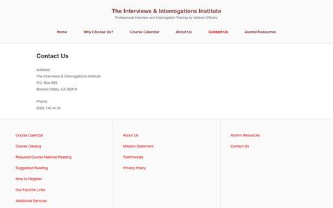 Screenshot of Contact Page getconfessions.com - Contact Us - The Interviews & Interrogations Institute - captured Nov. 26, 2016