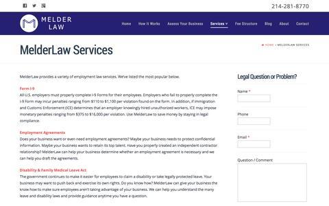 Screenshot of Services Page melderlaw.com - MelderLaw Services - Business Legal Services, Employment Law Dallas, TX - MelderLaw - captured Oct. 27, 2014