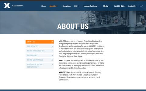 Screenshot of About Page vaalco.com - About Us - VAALCO - captured Sept. 20, 2018