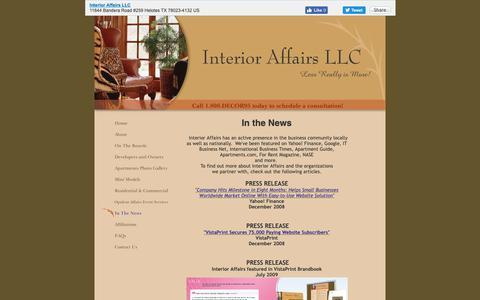 Screenshot of Press Page interioraffairssa.com - Interior Affairs LLC - In The News - captured Oct. 12, 2018