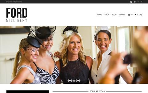 Screenshot of Home Page fordmillinery.com.au - FORD MILLINERY - Hats, Fascinators & Headpieces for Spring Racing - captured Jan. 8, 2016