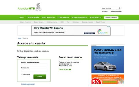 Screenshot of Login Page anunciosmtb.com - Mi cuenta | AnunciosMTB.com - captured Sept. 24, 2014