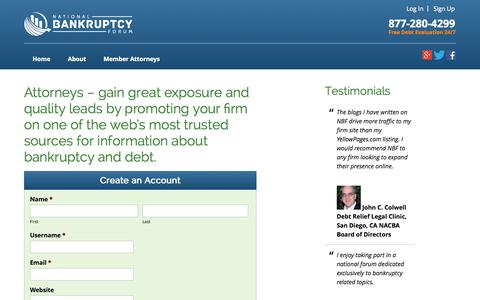Screenshot of Signup Page natlbankruptcy.com - Attorneys - gain great exposure and quality leads by promoting your firm on one of the web's most trusted sources for information about bankruptcy and debt. - National Bankruptcy Forum - captured Oct. 27, 2014
