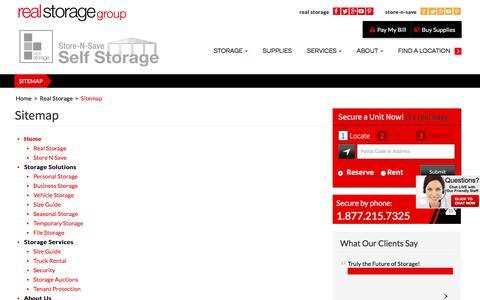 Screenshot of Site Map Page realstorage.ca - Sitemap | Real Storage | Real Storage - captured Nov. 7, 2017