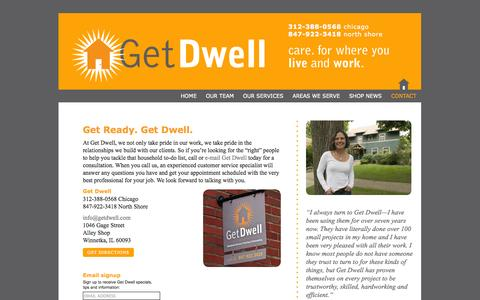 Screenshot of Contact Page getdwell.com - CONTACT |  Get Dwell - captured Sept. 29, 2014