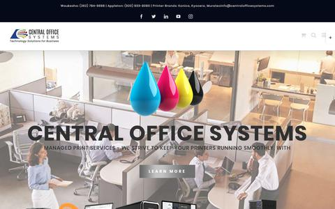 Screenshot of Home Page centralofficesystems.com - HOME - Central Office Systems - captured Sept. 5, 2019