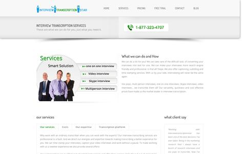 Screenshot of Services Page interviewtranscriptionstar.com - Telephonic Interview Transcription Company, Videoconferencing, Television, Academic - captured Sept. 30, 2014