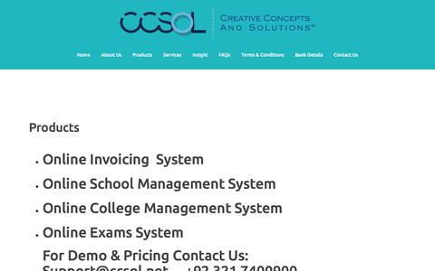 Screenshot of Products Page ccsol.net - Products – CCSOL – Creative Concepts And Solutions - captured July 14, 2018
