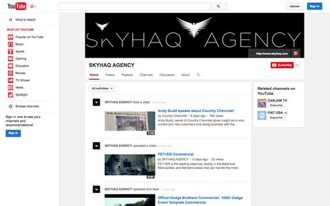 Screenshot of YouTube Page youtube.com - SKYHAQ AGENCY  - YouTube - captured Oct. 22, 2014