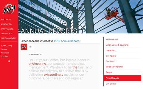 Annual Report of Business Performance & Highlights - Bechtel