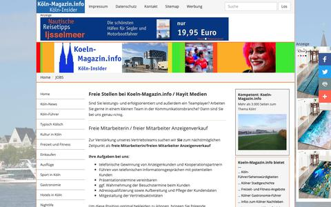 Screenshot of Jobs Page koeln-magazin.info - JOBS - captured Oct. 30, 2018