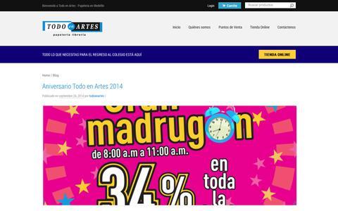Screenshot of Blog todoenartes.com.co - Blog - Todo en Artes - captured Oct. 9, 2014