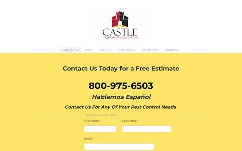 Screenshot of Home Page castleextermination.com - CASTLE EXTERMINATION COMPANY - Contact Us Today - captured Dec. 6, 2018