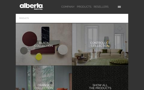 Screenshot of Products Page alberta.it - Products - captured Oct. 3, 2018