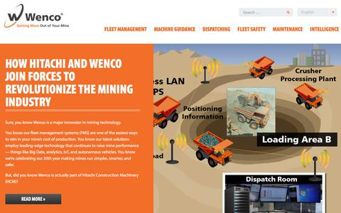 Screenshot of Home Page wencomine.com - Wenco Mining Systems | Getting More Out of Your Mine - captured Oct. 9, 2017