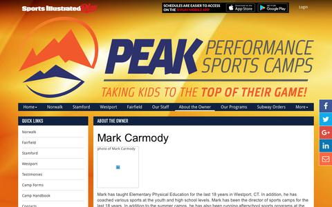 Screenshot of Press Page peakperformancesports.net - About the Owner - captured July 18, 2017