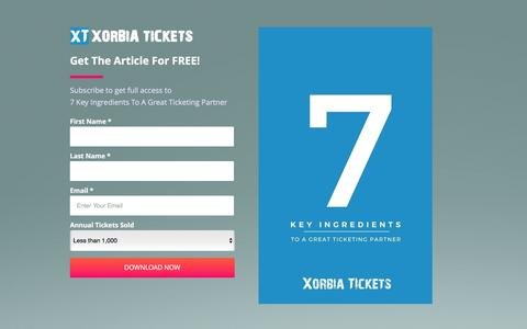 Screenshot of Landing Page xorbia.com - 7 Key Ingredients To A Great Ticketing Partner - captured Feb. 23, 2016