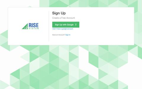 Screenshot of Signup Page risevision.com - Rise Vision | Apps - captured Aug. 18, 2016